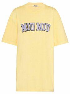 Miu Miu logo oversized T-shirt - Yellow