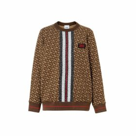 Burberry Monogram Stripe Print Cotton Oversized Sweatshirt