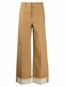 Chloé topstitched wide-leg trousers - Brown
