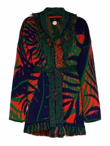 Alanui Jungle Raw Foliage belted cardigan - PURPLE