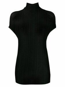 Issey Miyake plissé textured top - Black