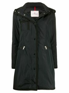 Moncler logo patch hooded coat - Blue
