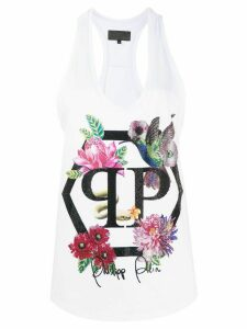 Philipp Plein embellished floral tank top - White
