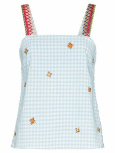 Mira Mikati embroidered gingham top - Blue