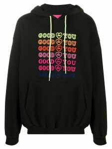 irene is good Goodforyou embroidered cotton hoodie - Black