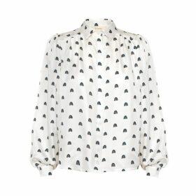 Lisou Eliza White Rainbow Print Silk Shirt