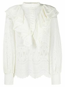 SO ALLURE embroidered lace blouse - White