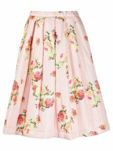 Comme Des Garçons rose-print quilted A-line skirt - PINK