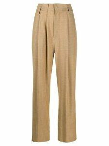 Brunello Cucinelli asymmetric pleat trousers - Brown