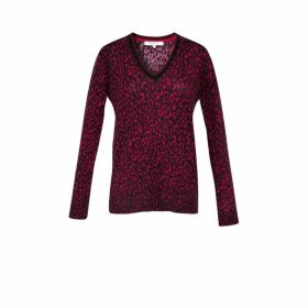 Gerard Darel Printed Merinos Wool V-neck Syra Sweater