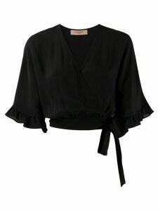 Twin-Set ruffle-trimmed wrap blouse - Black