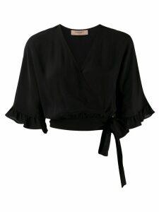 Twin-Set ruffle-trimmed wrap blouse - Black