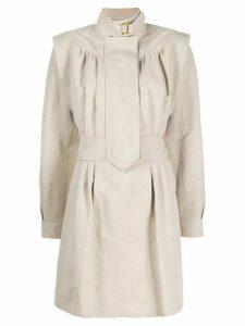 Stella McCartney buckle-collar structured-shoulder dress - NEUTRALS