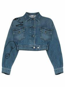 Moschino embroidered denim jacket - Blue
