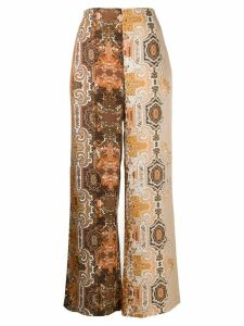 Antonelli oriental print palazzo trousers - Brown