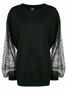 Adam Lippes lace sleeves jumper - Black