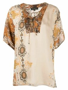 Antonelli oversized oriental print blouse - Brown