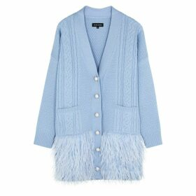 Izaak Azanei Blue Feather-trimmed Merino Wool Cardigan