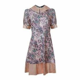 Manley - Harper Leather Collar Dress - Snake Print & Champagmne