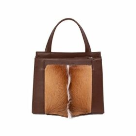 SHERENE MELINDA Top Handle Springbok Handbag In Cocoa Brown With A Fan Feature