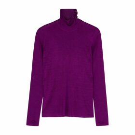 Petar Petrov Kristin Purple Ribbed Jumper