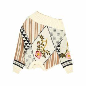 MONSE Ivory Floral-intarsia Cotton Jumper
