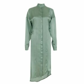 SZABO SIHAG - Asymmetric-Hem Silk Satin Midi Shirt