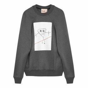 Plan C Grey Printed Cotton-blend Sweatshirt