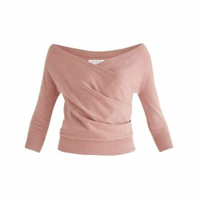 PAISIE - Chelsea Wrap Top In Coral Pink