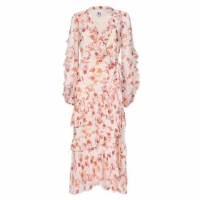 True Decadence - True Decadence Peach Orange Floral Wrap Midi Dress