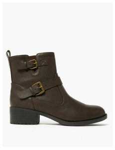 M&S Collection Biker Block Heel Ankle Boots