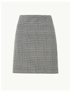 M&S Collection Jersey Checked A-Line Mini Skirt