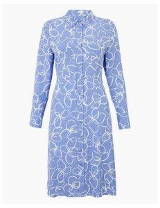 M&S Collection PETITE Floral Print Shirt Midi Dress
