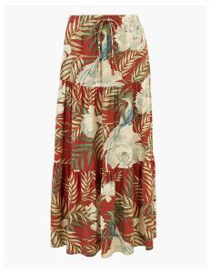 Per Una Floral Print Fit & Flare Maxi Skirt