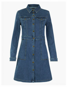 M&S Collection Denim Fit & Flare Mini Dress