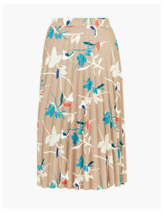 M&S Collection Jersey Leaf Print Pleated Midi Skirt