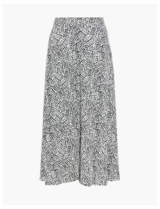 M&S Collection Printed Button Front A-Line Midi Skirt