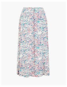 M&S Collection Floral Button Front Midi A-Line Skirt