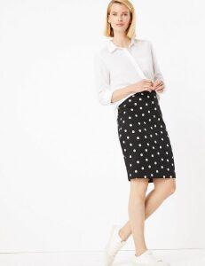 M&S Collection Jersey Polka Dot Knee Length Pencil Skirt