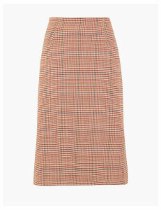 M&S Collection Checked Tailored Fit Pencil Skirt
