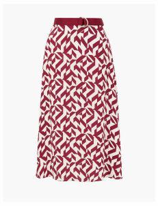 Autograph Geometric Print Belted Midi Skirt