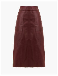 Autograph Leather A-Line Midi Skirt
