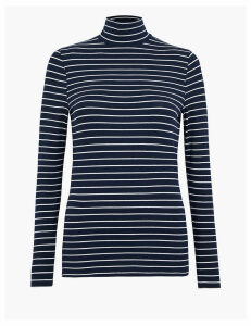 M&S Collection Cotton Striped Funnel Neck Fitted Top