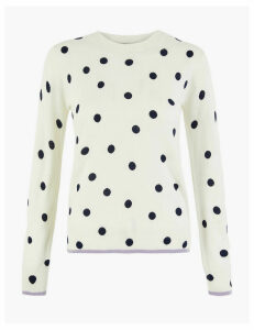M&S Collection Cashmilon Polka Dot Round Neck Jumper