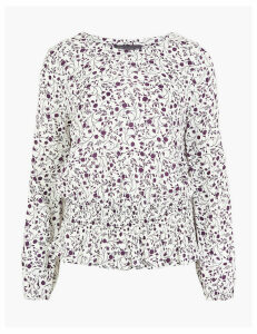 M&S Collection Floral Print Smocked Waist Blouse