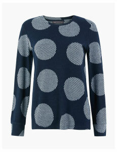 M&S Collection Soft Touch Polka Dot Sweatshirt