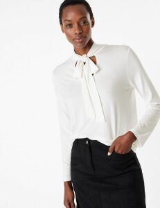 M&S Collection Fitted Tie Neck Top