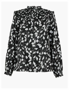M&S Collection Pure Cotton Floral Print Blouse