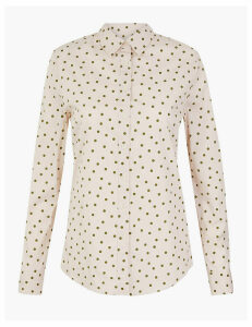 M&S Collection Cotton Rich Polka dot Shirt