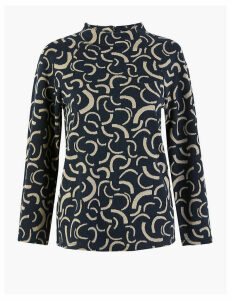 M&S Collection Printed High Neck 3/4 Sleeve Top
